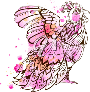 Hand drawn decorative bird with pink watercolor texture.