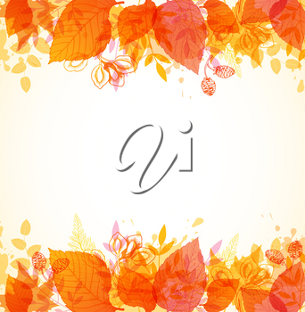 Vector autumn background with orange and yellow leaves.