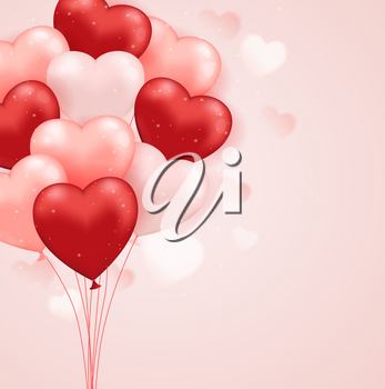 Red and pink heart balloons on a pink background. Valentine's day greeting card.