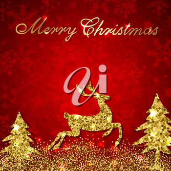 Christmas red background with golden glitter deer and firs. Design for Christmas card.