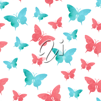 Abstract seamless pattern with red and green watercolor butterflies on a white background