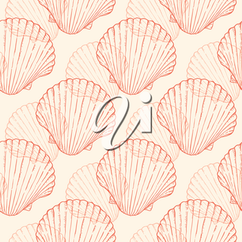 Vector vintage seamless pattern with sea shells. Seafood background.