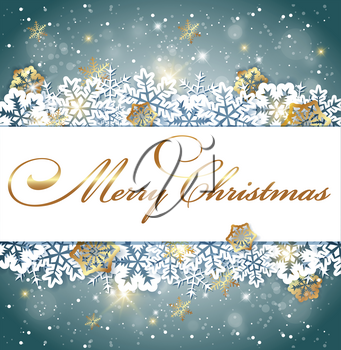 Christmas banner with white and golden snowflakes. Decorative vector background for new year greeting card
