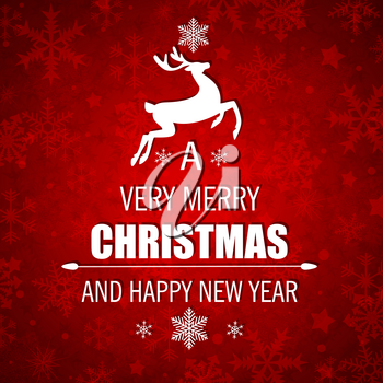 Decorative red vector Christmas background with white deer and greeting inscription.