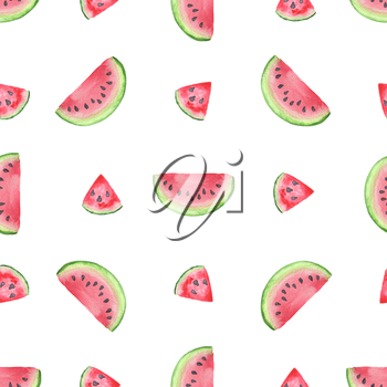 Watercolor seamless pattern with slices of sweet red watermelon on a white background