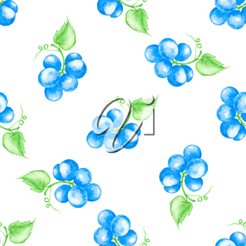 Watercolor summer seamless pattern with blue grapes on a white background