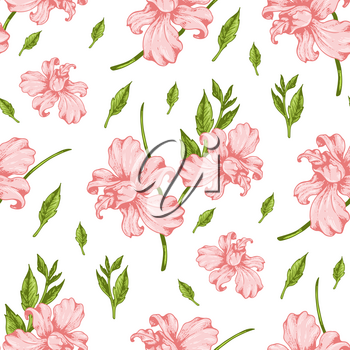 Tropical seamless pattern with pink orchid flowers. Hand drawn vintage vector background.