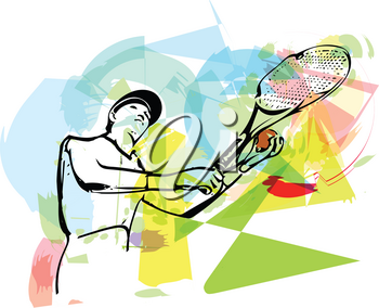 Colorful abstract sketch of one man tennis player at service serving silhouette