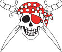 Jolly Roger Pirate sign on white background with white backgrounds on the inside contour.