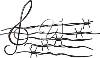 Musical notes tearing barbed wire isolated on white background