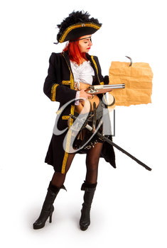 sexy girl in a pirate costume and a cocked hat stands on a white background and shows something on the map with a gun