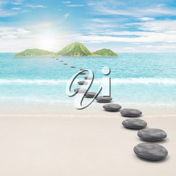 Pebble road to island. 3d rendering and photo montage