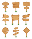 Empty wooden round and square signpost standing in grass. Vector illustration set. Various wooden plywood signpost, wooden guidepost or billboard