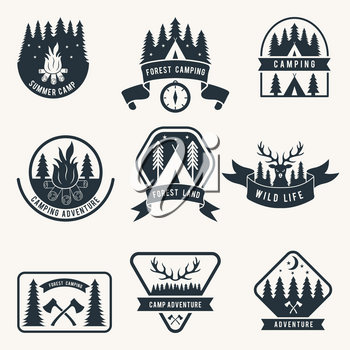 Adventure monochrome badges set. Silhouette of tent. Camping vector labels. Adventure travel logo, illustration of camping recreation logotype