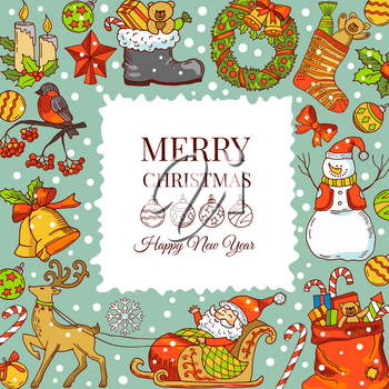 Christmas background pictures. Vector illustrations for holiday. Frame with place for your text. Christmas holiday card, new year and merry xmas