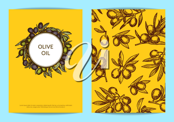 Vector card or flyer template with place for text for oil company with hand drawn olive branches illustration
