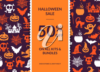 Vector halloween background with vertical decorative ribbon, witches, pumpkins, ghosts, spiders silhouettes and place for text illustration