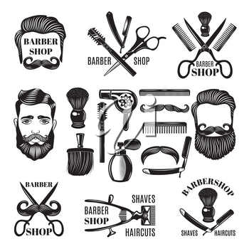 Monochrome pictures of barber shop tools. Vector illustrations for labels. Barber shop and salon haircut logo