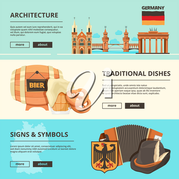 Horizontal banners with pictures of germany landmarks. Vector architecture and, travel, sightseeing poster illustration