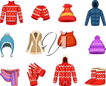 Vector illustrations of winter clothes collection. Winter collection clothing, fashion scarf and jacket