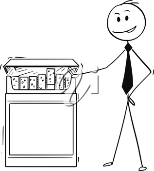 Cartoon stick man drawing conceptual illustration of businessman holding big box of cigarettes. Business concept of tobacco industry.