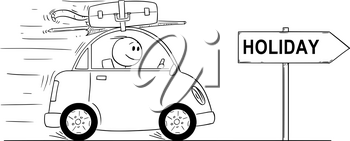 Cartoon stick man drawing conceptual illustration of smiling man in small car going on vacation. Arrow sign with holiday text.
