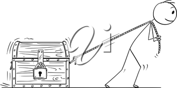 Cartoon stick drawing conceptual illustration of man or businessman pulling locked treasure chest on rope.