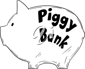 Simple vector black and white drawing of piggy bank as finance and money metaphor.