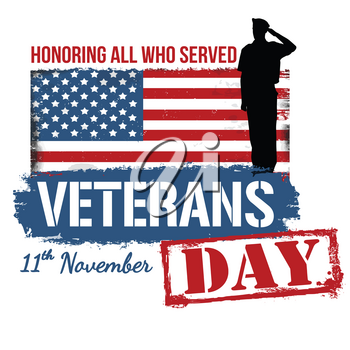 Veterans Day poster on white background, vector illustration