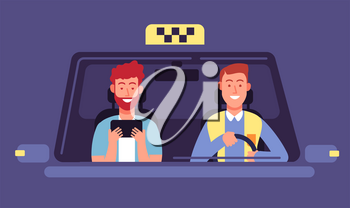 Taxi app. Client and taxi driver inside cab cabin. Taxi booking smartphone application vector background. Illustration of taxi client in automobile