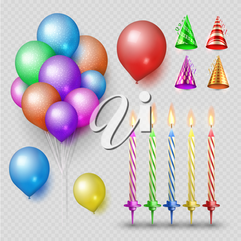 Party accessorises vector set. Realistic candles, balloons and party hats isolated on transparent background. Illustration of candle and entertainment hat