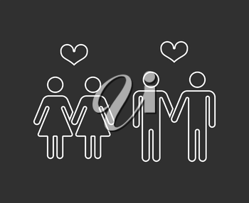 Vector gay pairs in love thin line icons. Homosexual love couple marriage illustration