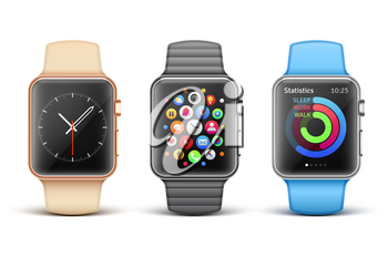 Smart electronic apple watches vector set. Clock mobile phone functions illustration