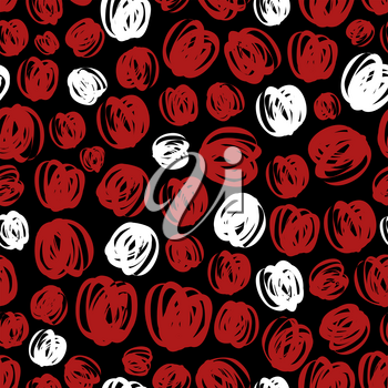 Abstract scribble seamless pattern design - red and white texture. Vector illustration