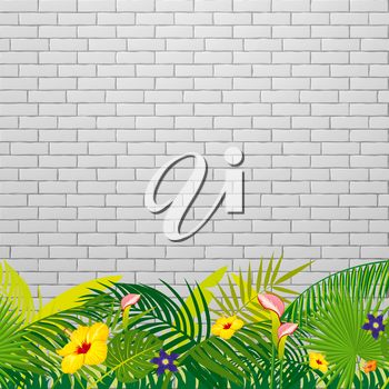 White brick wall background with tropical leaves and flowers. Vector illustration