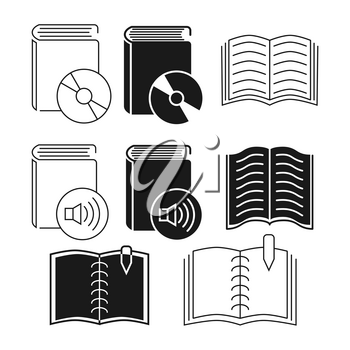 Thin line and outline book icons collection. Sign for digital book. Vector illustration