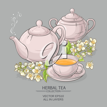 Illustration with cup of tea, teapot, sugar bowl  and jasmine flowers