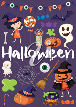 Halloween poster with kids in costumes illustration