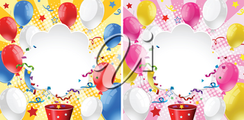 Border design with balloons and ribbons illustration