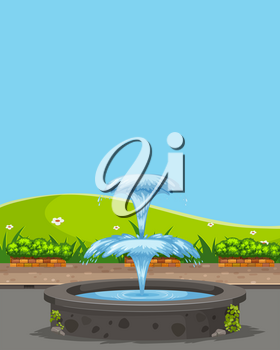Fountain in the nature illustration