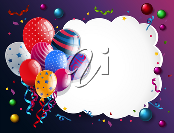 Border template with colorful balloons illustration