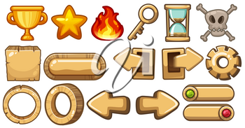 Game elements with arrows and symbols illustration