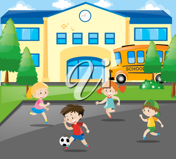 Boys and girls playing football at school illustration