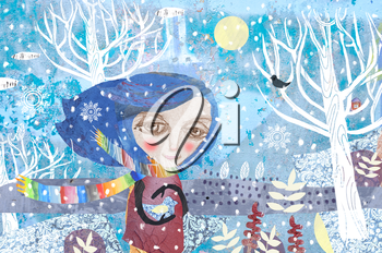 The girl in a colored scarf holds a bird. Author's technique of collage using various pictorial textures.Hello winter is a seasonal illustration.