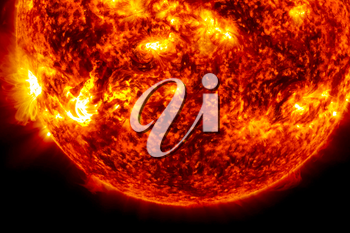View of the sun through filters, computer graphics of the sun near. The star is the sun. 3D rendering
