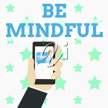 Writing note showing Be Mindful. Business concept for Asking demonstrating become conscious or aware of something Human Hand Holding Smartphone with Unread Message on Screen