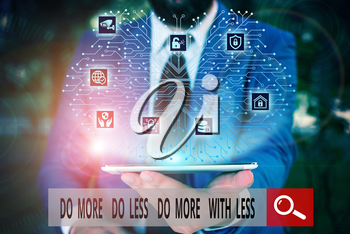 Conceptual hand writing showing Do More Do Less Do More With Less. Concept meaning dont work hard work smart be unique Male wear formal work suit presenting presentation smart device