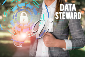 Text sign showing Data Steward. Business photo showcasing responsible for utilizing an organization s is data governance Female human wear formal work suit presenting presentation use smart device