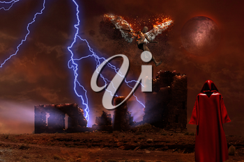 Surreal digital art. Lightning strikes spooky ruins. Figure of man in red cloak. Naked man with burning wings symbolizes fallen angel.