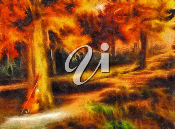 Oil painting. Violin in autumn forest.